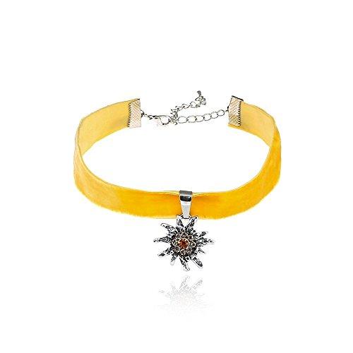 Alpenklunker Halsband Choker Kropfband Edelweiß viele Farben passend zum Dirndl Tracht Schmuckrausch Farbe Gelb