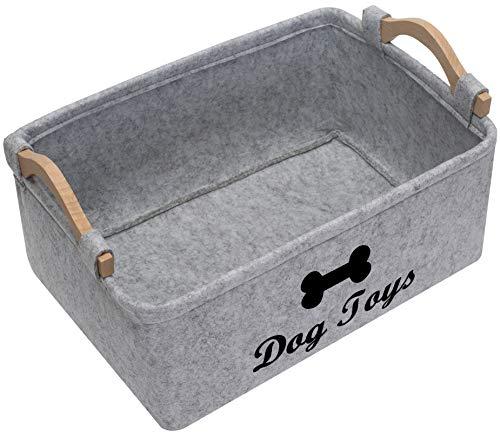 Geyecete Dog Toys Storage Bins  with Wooden Handle Pet Supplies Storage Basket/Bin Kids Toy Chest Storage Trunk Light Grey