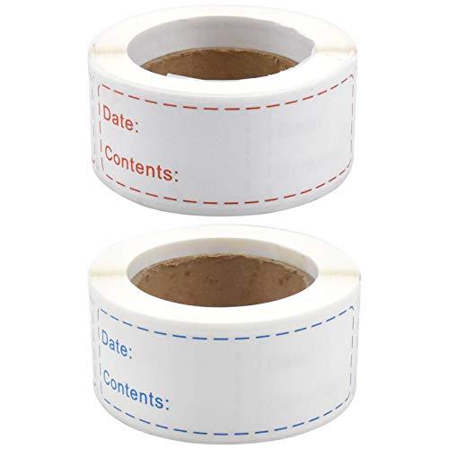 Etiquetas adhesivas 2 rollos 500 piezas Etiquetas de Fecha para Alimentos Autoadhesivo Removibles etiquetas para congelador para frigorífico Azul y rojo (76 x 25mm)