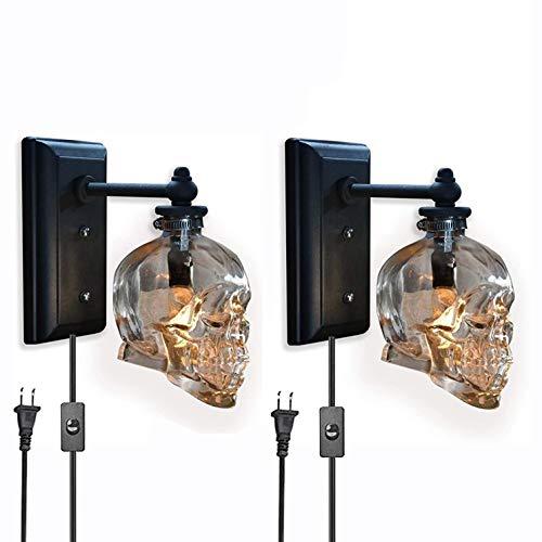 Vintage Totenkopf Lampe Bones Wandlampe mit Schalter und Stecker Innen LED Schädel Wandleuchte Transparent Glas Schatten E14 Wandlampen Bar Party Retro Industrie Dekorative Beleuchtung, 2 Stück