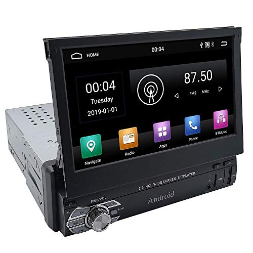 YODY Android 9.0 Single Din Car Stereo Radio 7 Inch Touch Screen in Dash GPS Navigation Support WiFi Bluetooth Mirror Link with Backup Camera and Microphone (1Din 2GB Ram+32GB ROM)