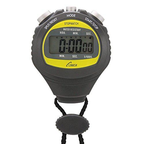 LINKSY(リンクシー) 濡れても安心防滴機構 スプリットタイム・ディアルタイム時計付 1/100秒 ストップウォッチ ブラック LS001B