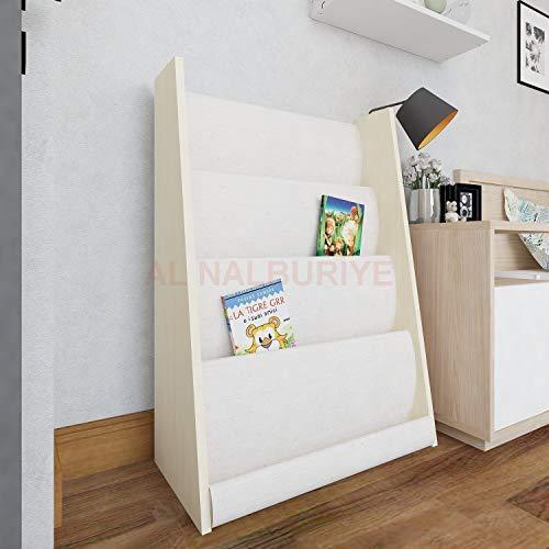 Premium Kinder Bücherregal 63,6cm x 90cm x 30cm Hängefächerregal Büchergestell Zeitungsständer Regal Ahorn Farbe
