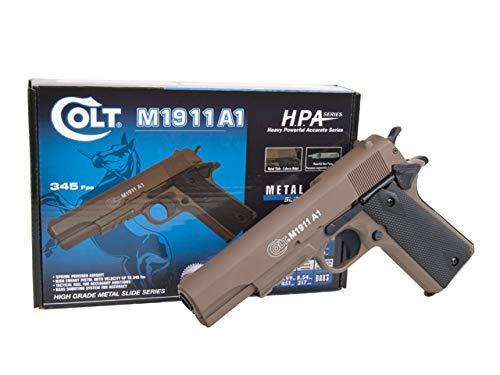 KOSxBO® Set Softair Pistol Colt 1911 A1 H.P.A. mit Metallschlitten, Kal. 6mm BB, Federdruck-System <0.5 Joule inklusive Premium BB Munition inklusive KOS24 Zielscheibe