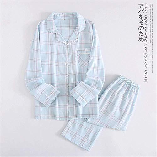 XFLOWR Dames Lente Eenvoudige En Elegantie Raster Patroon 100% Gauze Katoen Vrouwen Pajama Set Lange mouw Huishoudelijke Set
