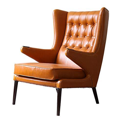 VBARV Sillón cómodo de Cuero clásico sofá Country Americano, sillón Individual de Cuero Naranja, sillón de salón