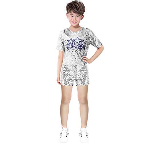 Xiao Jian Dance Wear-pailletten kinderen kostuums heren en dames cheerleader kostuums kostuums voor jeugdpodia - geel + blauw + zilver + rood tanzunivorm