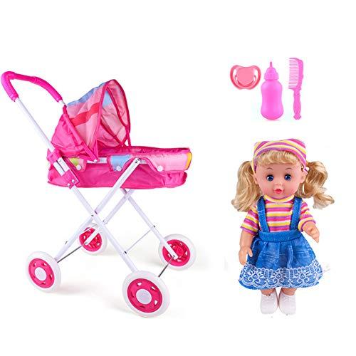 FXQIN Cochecito de muñecas Deluxe Plegable Sillas De Paseo para Muñecas con asa, Canasta y toldo, Carrito De Muñecas para niñas Baby Doll Stroller Set Juguetes