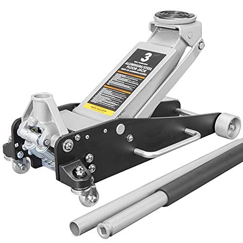 Torin AT830011LB Hydraulic Low Profile Aluminum and Steel Racing Floor Jack with Dual Piston Quick Lift Pump, 3 Ton (6,000 lb) Capacity, Black