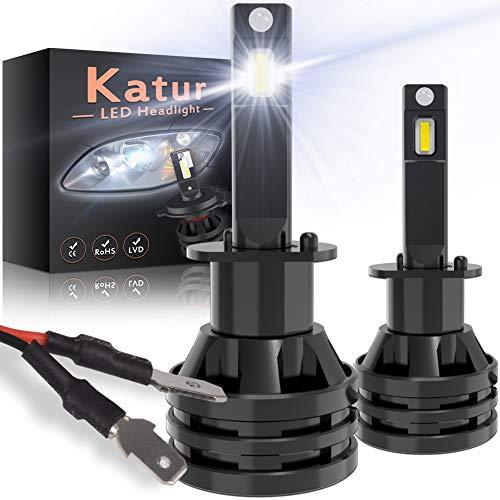 KATUR H1 Led Bombillas para Faros Delanteros Diseño Mini Chips de CREE mejorados 12000 LM Kit de conversión LED Todo en uno a Prueba de Agua 55W 6500K Xenón Blanco-2 años de garantía