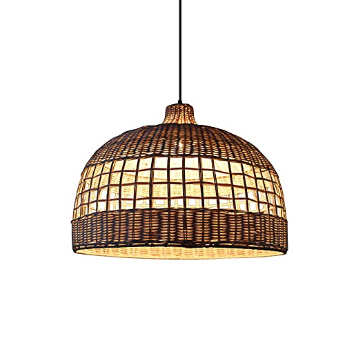 SHUANF Lámpara colgante de linterna de bambú Iluminación colgante de tejido con gran efecto de proyección de sombras Araña de creatividad de estilo del sudeste asiático Lámpara colgante E27 1 luz para