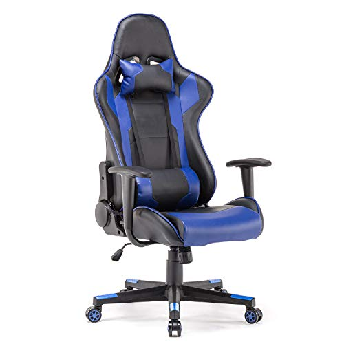 Polar Aurora Gaming Chair Racing Style High-Back PU Leather Office Chair Computer Desk Chair Executive Ergonomic Style Swivel Chair Headrest Lumbar Support (Blue) big chair gaming tall