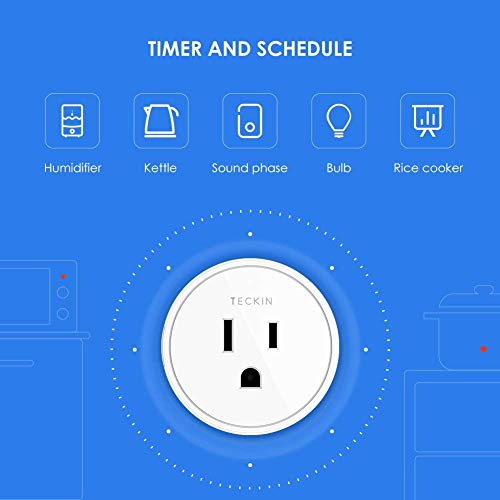Smart Plug Works with Alexa, Google Assistant, TECKIN Mini WiFi Outlet with Timer Function, No Hub Required, Remote Control