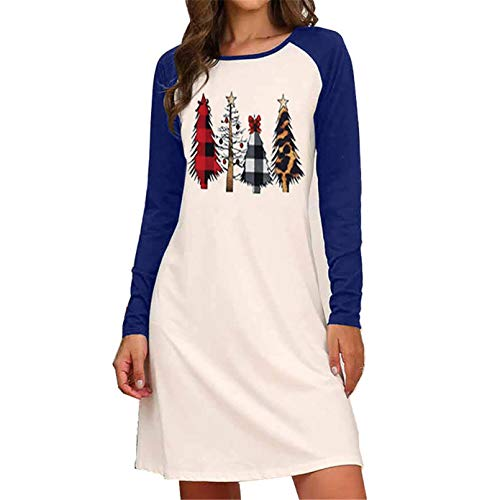 Women's Casual Color Block Long Sleeve Pullover Blouse with Pocket Loose Lightweight Tunic Tops Sweatshirt (Blue,Medium)
