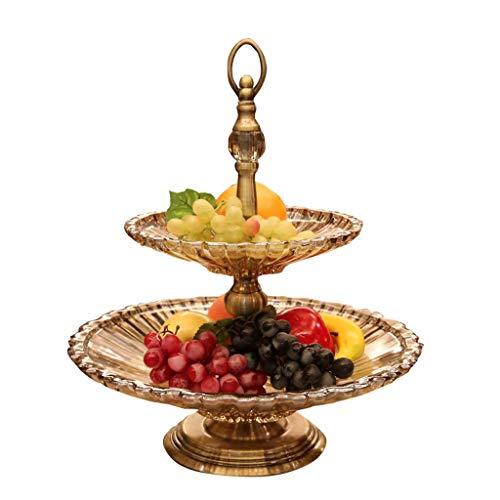 MQH Cesta de Frutas Al Estilo Europeo de Cristal de Doble Capa Placa de la Fruta de Gran Capacidad Creativa del Plato del Cuenco de Fruta Home Living Decoración del Aula de Frutas Pisos Cuencos