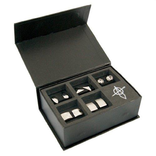 METAL MANAGEMENT Silberne Manschettenknöpfe, coole Hemd Cufflinks 5 Stück (paarweise, aus Messing), Manschettenknöpfe Box, Geschenk für Männer, Farbe: Silber