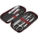 marQus set manicura de 7 piezas de Solingen Alemania - Set de manicura y pedicura en estuche, 2 tijeras, 2 cortaúñas, 2 limas (1 lima cristal) y pinza, para él y ella - limas de uñas profesionales