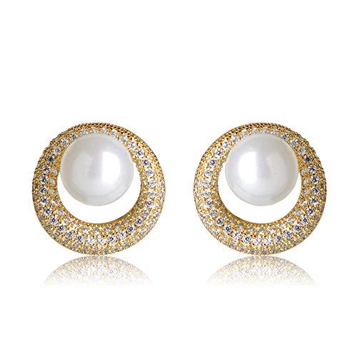 Pendientes de perlas simuladas redondas blancas de moda Diamantes de imitación Pendientes de cobre para mujeres Fiesta nupcial de la boda