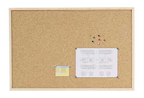 Dahle - Bacheca in sughero (cornice in legno, pannello di sughero, spessore 7 mm, con 6 spilli) 40 x 60 cm