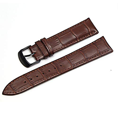 Beapet 12mm 18 mm 20 mm 22 mm Reloj de Correa de Cuero Reloj Accesorio (Color : Brown Black, Size : 16mm)
