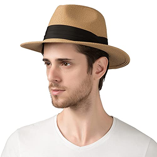 Lanzom Summer Beach Sun Hats for Men Foldable Floppy Travel Packable Staw Hat, Wide Brim Hat (Style B-Khaki,Medium Size:Fit for 22.5'-23')