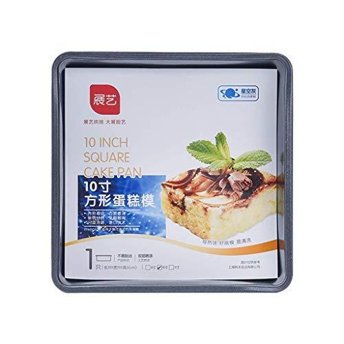 GJJSZ Moule à gâteau antiadhésif carré à Double Face Moule à Pain à Biscuit pour gâteau Moule de 10 à 10 Pouces Conductivité Thermique Polyvalente Bon Acier au Carbone (Taille:10 Pouces)