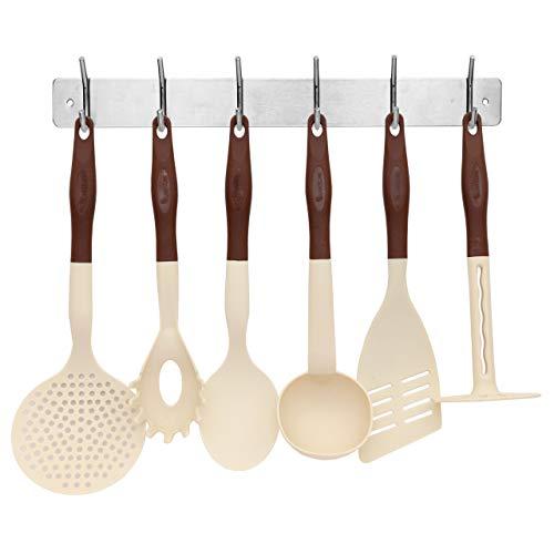 Lantelme Küchenhelfer Kochbesteck Set mit Hakenleiste 7 tlg. beige braun und Küchenreling aus Edelstahl 4274