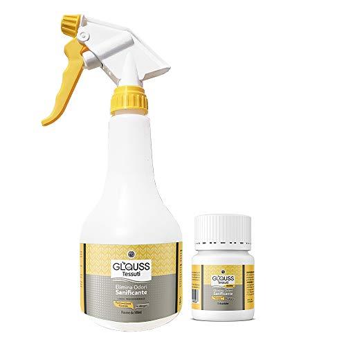 GLAUSS Tessuti Elimina Odori e Sanificante per Tutti i Tipi di Tessuto. 2,5 Litri Profumazione Floreale. Senza Cloro, ne formaldeide. Non Macchia e Non Lascia aloni