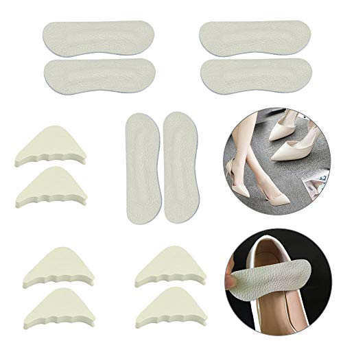 6Pcs High Heel Shoe Inserts Adjustable Toe Filler Insole Leather Heel Grips Pads Liner Unisex Heel Protectors for Loose Shoes, Anti-Slip Cushions for Shoes too Big, Improved Shoe Fit and Comfort
