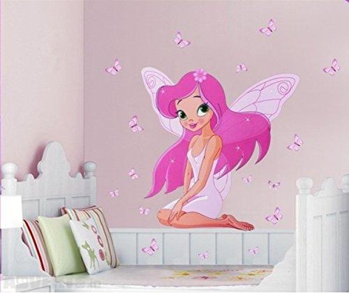 Fototapete Fee - Schmetterlinge. Blatt 50x70cm. Schöne Fee und Schmetterlinge der Wanddekoration. Aufkleber an der Wand mit einer Fee und Schmetterlingen. Fee und Schmetterlinge für das Mädchenzimmer.