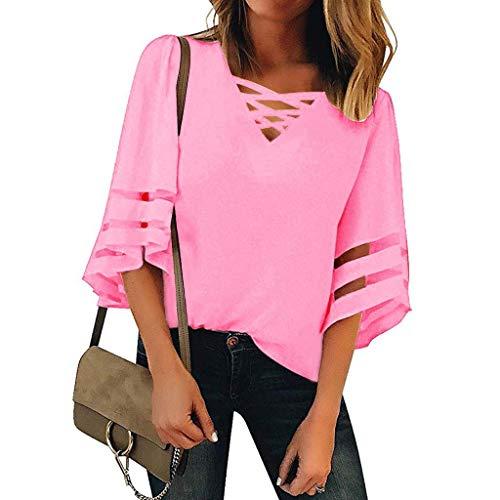 XUNN Damen Tops Mode Sexy V-Ausschnitt Mesh Panel Bluse 3/4 Bell Sleeve Casual Loose Top Shirt Frauen Oberteil