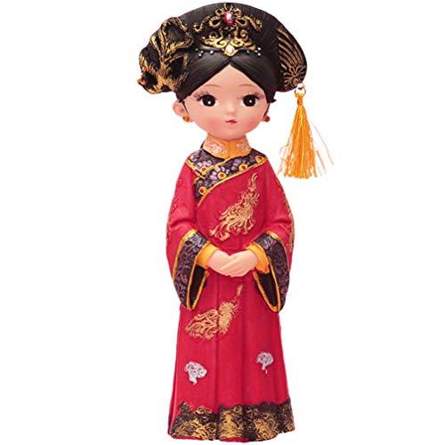 NONE Reina China Estatuilla Resina Retro Princesa Real Estatua Escultura Escritorio Adorno Pastel Topper para Sala de Estar Decoración de La Boda de La Oficina