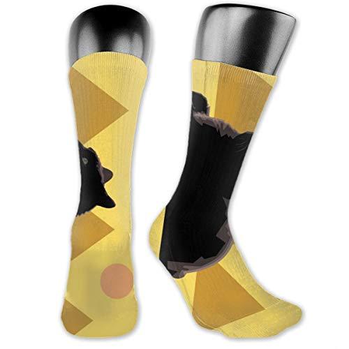 Schwarze Katzen-Statue Pyramide Weiche Kissen Crew Socken Outdoor Casual Freizeit Dekoration Kleid Socken