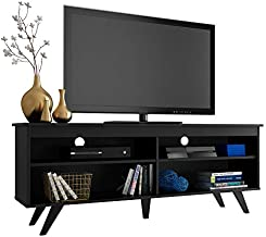 Madesa Modern Entertainment Center, Console Table, TV Stand for TVs up to 65 Inches, with Wire Management and Storage Shelves (Black)