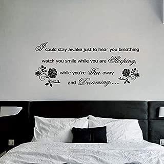 Cheyan Romantic Vinyl Wall Stickers Aerosmith Lyrics Breathing Rose Wall Art Decoration