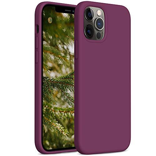 YATWIN Cover Compatibile con iPhone 12 PRO Max 6,7'', Custodia per iPhone 12 PRO Max Silicone Liquido, Protezione Completa del Corpo con Fodera in Microfibra, Vino Rosso