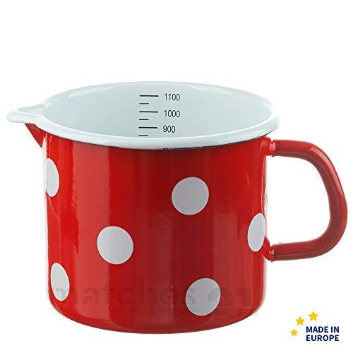 matches21 Kleiner Email Topf Milchtopf rot gepunktet mit Skala Messbecher Emaille Geschirr je Ø 12 cm / 1000 ml