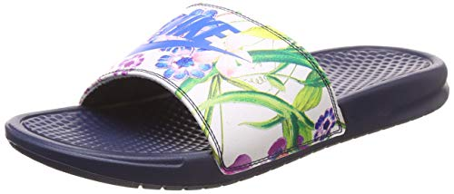 Nike Wmns Benassi JDI Print, Zapatillas Mujer, Multicolor (Midnight Navy/Cobalt Blaze 001), 40 EU