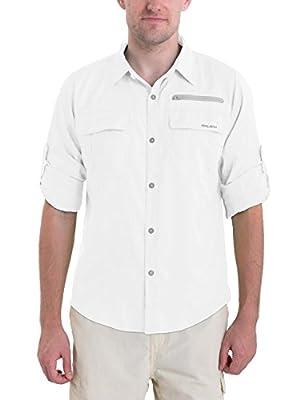 BALEAF Men's Long Sleeve Hiking Shirts Lightweight Quick Dry UPF 50+ Shirt Fishing Camping Traveling White XL