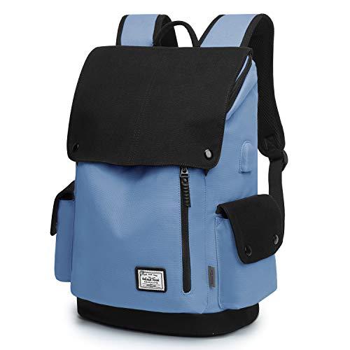 WindTook Backpack Daypack 15 Zoll Laptop Rucksack Schulrucksack Tagesrucksack mit USB Anschluss für Uni Büro Alltag Freizeit, Himmelblau