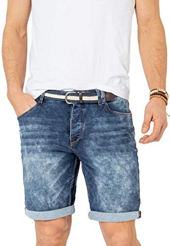 Sublevel Herren Jeans Bermuda-Shorts mit Gürtel & Stretch Middle-Blue 34
