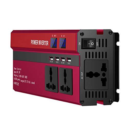JIAOAOO Inversor de Corriente 5000W DC 12V a AC 220V, Inversor de Coche con 4 USB 3 Enchufes Universales Pantalla Led, Enchufe de Coche Convertidor de Onda Sinusoidal Adaptador