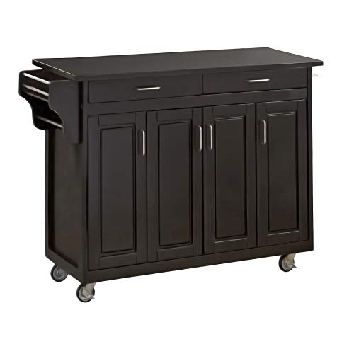 Black 4 Door Cabinet Wheeled  Kitchen Cart with Granite Top 48-3/4-inch width by 17-3/4-inch depth by 34-3/4-inch height