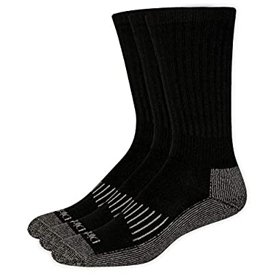 Dickies Men's Heavyweight Cushion Compression Work Crew Socks (3 & 6, Black (3 Pairs), Shoe Size: 6-12