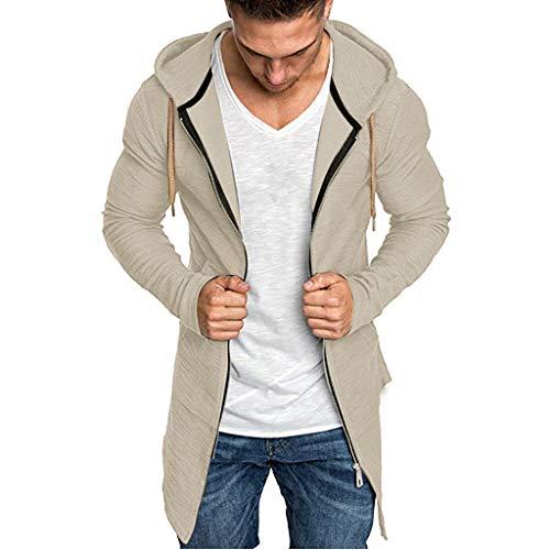 Rosennie Sweatjacke Herren Hoodie Sweatshirt mit Kapuze Strickjacke Langarm Kapuzenjacke mit Reißverschluss Kapuzenpullover Trenchcoat Slim Fit Outwear (M, Khaki)