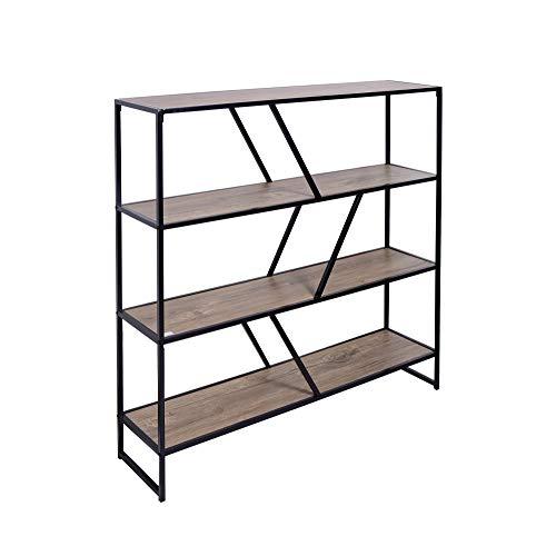 CRIBEL model Otis Plus boekenkast van metaal met 4 planken van hout 30 x 120 x 120 cm zwart.