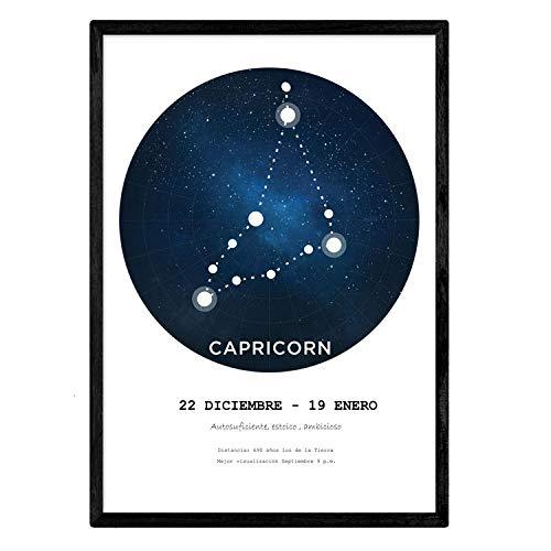 Lamineren met het sterrenbeeld Steenbok. Poster met stersymbool in A4-formaat en witte achtergrond