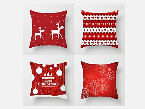 Jwqing Pack of 4 Decorative Pillow Covers Merry Christmas Pattern Square Cushion Cover Throw Pillow Covers Home Decor for Sofa Bedroom-B_60x60cm(Cushion_Cover)