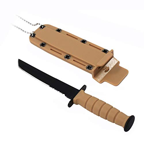 ASR Tactical 6inch Serrated Fixed Blade Tanto Point Hunting Neck Knife - Tan