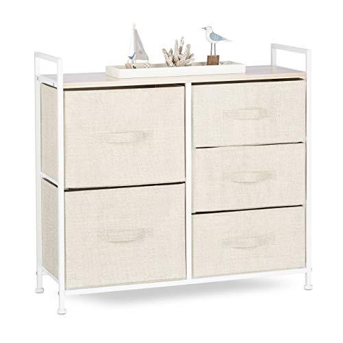 Relaxdays Regalsystem, 5 Stoff-Schubladen, universale Schubladenbox, Metall und Holz, HxBxT: 77,5 x 83 x 29 cm, beige